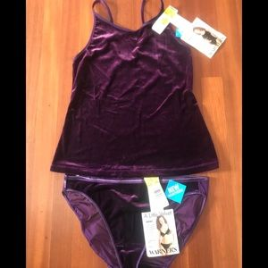 Warner's Purple Velvet Cami & Panties